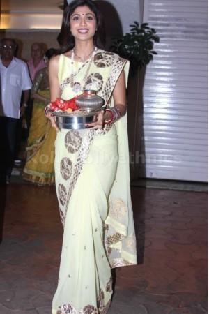 Shilpa Shetty Lime green saree