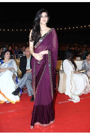 Kriti Sanon Georgette and velvet purple colour saree