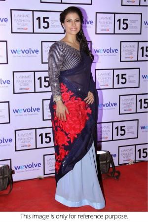 Kajol georgette and chiffon saree in blue colour