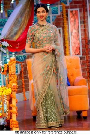 Deepika padukone net saree in peach and green colour