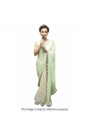 Dia mirza georgette and net saree in pastel green colour