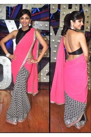 Shilpa shetty pink and black saree