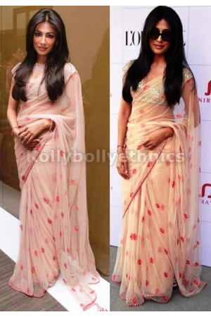 Chitrangada singh peach colour  saree