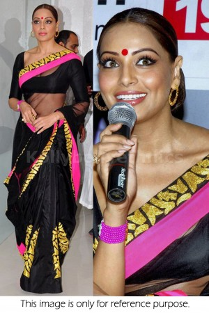 Bipasha basu Black and pink saree