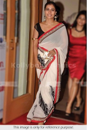 Kajol white and black saree