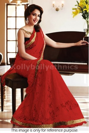 Madhuri Dixit red and black saree