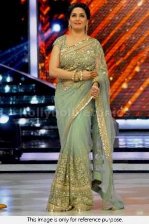 Madhuri Dixit Aqua green embroidery saree