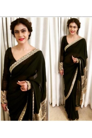 Kajol Black colour georgette bollywood saree