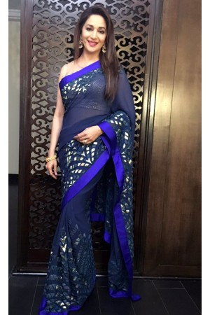 Madhuri dixit deep blue colour georgette bollywood saree
