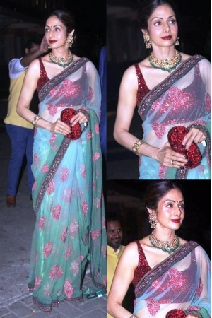 Sridevi mint green and red colour netted bollywood saree