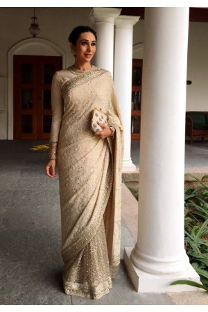 Karishma kapoor cream color georgette bollywood saree