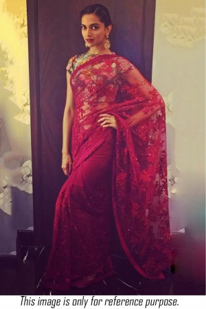Bollywood style Deepika padukone red colour netted saree