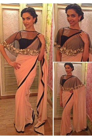 Deepika Padukone peach and black colour georgette bollywood saree