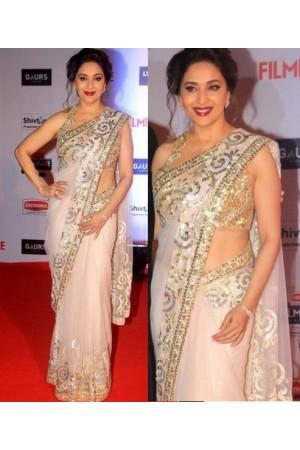Madhuri dixit white color net bollywood saree