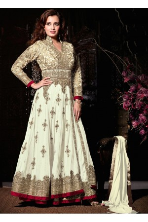 Dia mirza white wedding wear anarkali