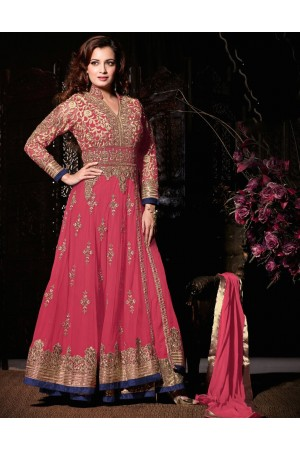Dia mirza pink wedding wear anarkali