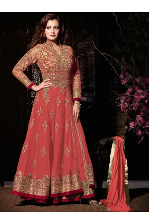Dia mirza light orange party wear anarkali