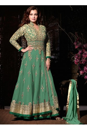 Dia mirza mint green party wear anarkali