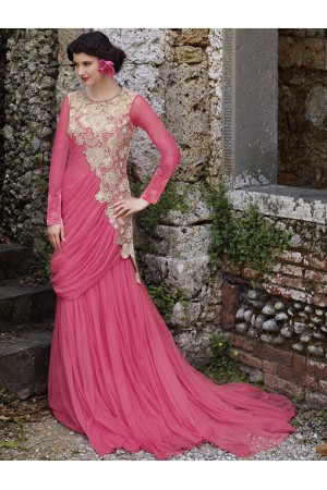 Sizzing pink designer wedding gown