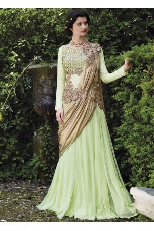 Mint green floor length wedding gown