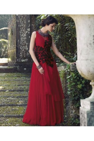 Red georgette and black wedding gown