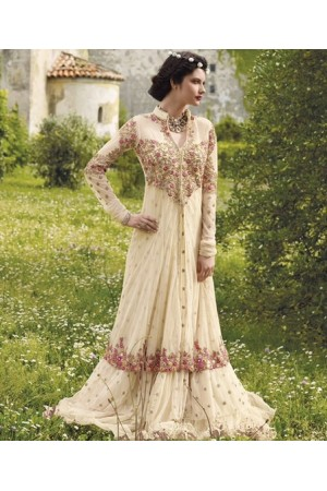 Cream floor length wedding gown