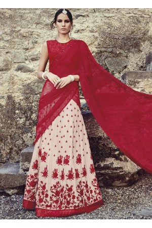 Red and cream designer wedding lehenga