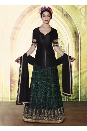 Green and black velvet silk designer wedding lehenga