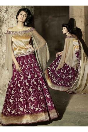 Garish Wine Velvet Anarkali Suit
