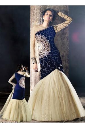 Legendary Blue Velvet Anarkali Suit