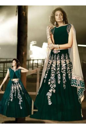Sweet Green Velvet Designer Anarkali Suit