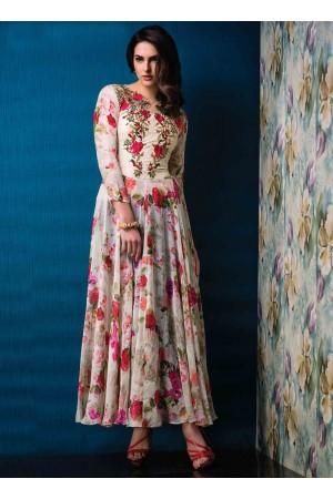 Radiant Raw Silk Multi Colour Designer Gown