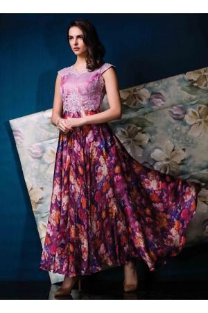 Enthralling Multi Colour Silk Designer Gown