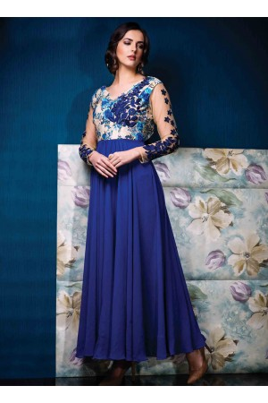 Precious Blue Raw Silk Designer Gown