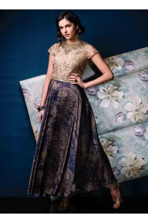 Voluptuous Jacquard Print Work Multi Colour Designer Gown