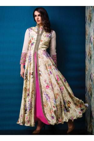 Sumptuous Multi Colour Print Work Designer Gown