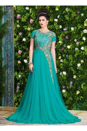 Fetching Turquoise Net Party Wear Gown