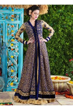 Stunning Blue Net Party Wear Gown
