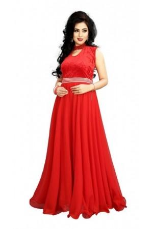 Red Georgette / Velvet Gown