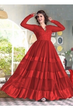 Red Net / Satin / Brasso Gown