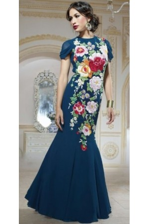 Navy Blue Pure Georgette Gown