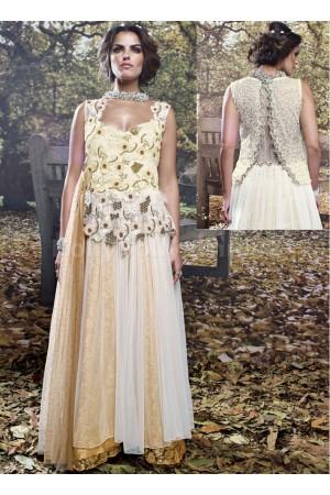 Cream colour designer Wedding gown