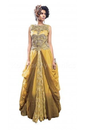 Blissful yellow colour Wedding gown