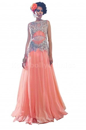 Pleasant Peach colour Wedding gown