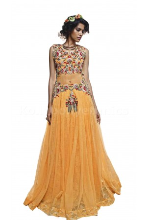 Yellow colour graceful Wedding gown