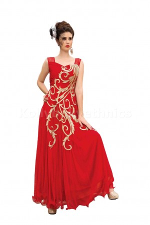 Red colour Designer Gown