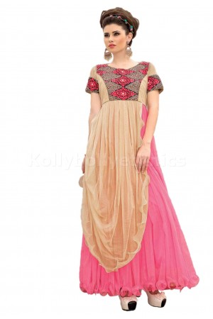 Cream and pink Designer Gown