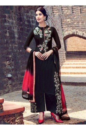 Black color cotton casual wear straight cut salwar kameez