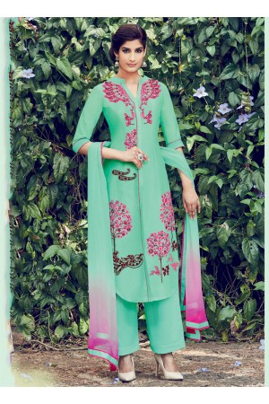 Green color cotton casual wear salwar kameez