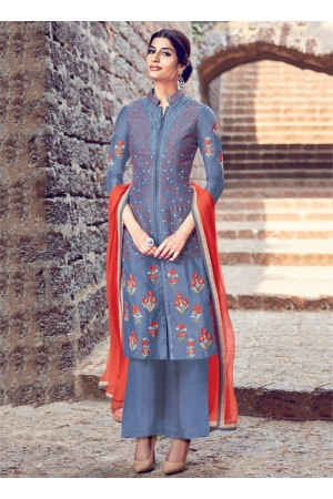 Grey color cotton casual wear  straight cut salwar kameez